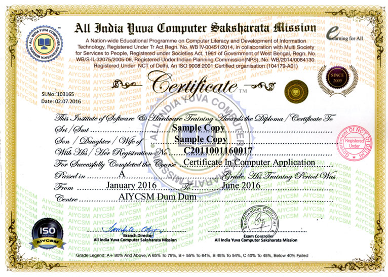 Certificate and result